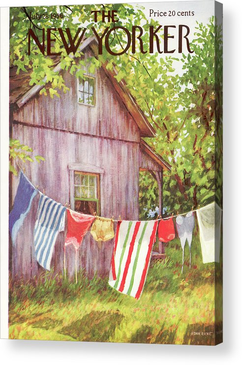 (swimsuits And Towels Hang On A Clothesline To Dry Outside An Old House In The Woods.) Swimming Leisure Travel Vacation Seasons Summer Summertime Clothes Line Rural Outdoors Houses Edna Eicke Artkey 47936 Acrylic Print featuring the painting New Yorker July 28th, 1956 by Edna Eicke