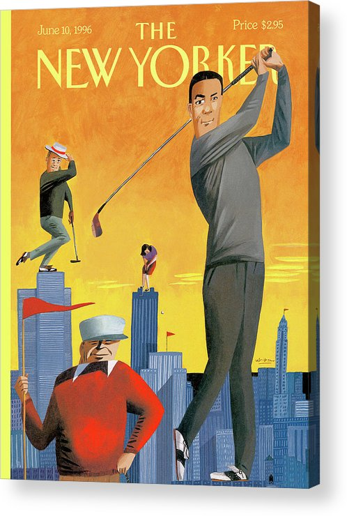 Tee Time Acrylic Print featuring the painting New Yorker June 10th, 1996 by Mark Ulriksen