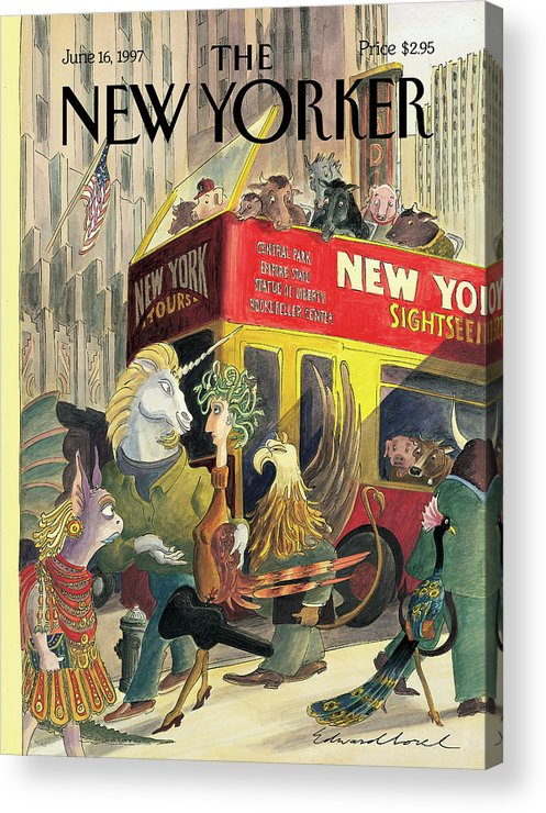 Walkers And Gawkers Artkey 50905 Eso Edward Sorel Acrylic Print featuring the painting New Yorker June 16th, 1997 by Edward Sorel