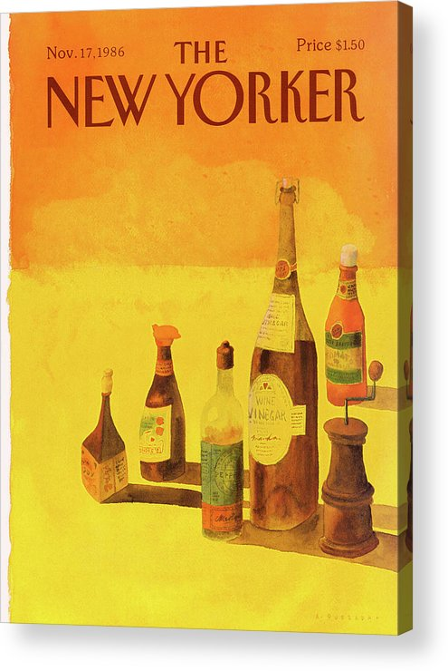 Kitchen Acrylic Print featuring the painting New Yorker November 17th, 1986 by Abel Quezada