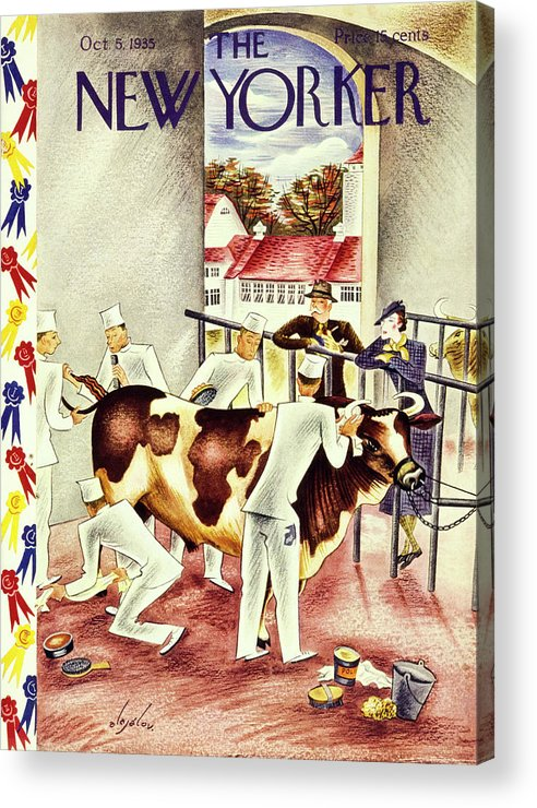 Illustration Acrylic Print featuring the painting New Yorker October 5 1935 by Constantin Alajalov