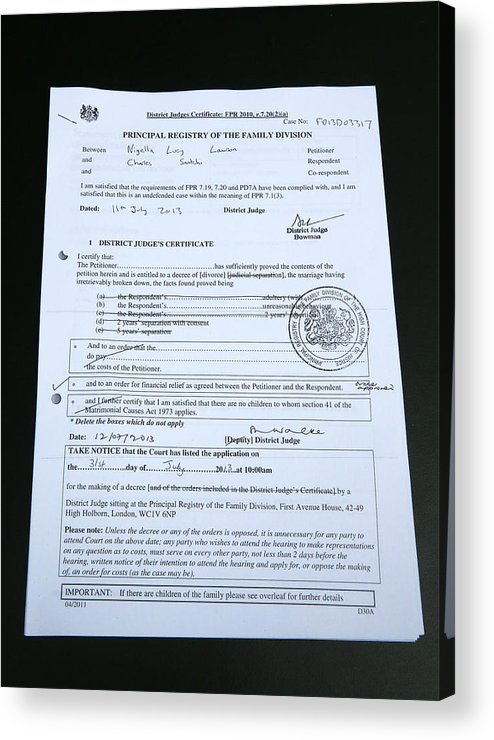Nigella Lawson And Charles Saatchi High Court Divorce Hearing Acrylic Print