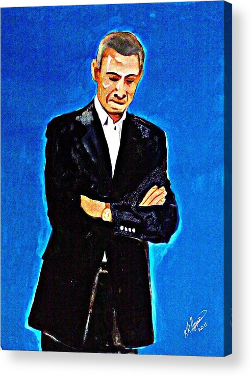 President Obama Man Politics America Suit Politician Political Leader United States Acrylic Print featuring the painting Obama 2011 by Ken Higgins