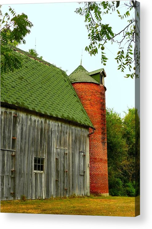 Old Barns Acrylic Print featuring the photograph Old Barn With Brick Silo II by Julie Dant
