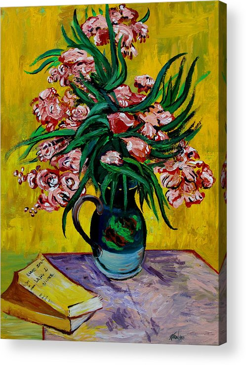 Oleander Acrylic Print featuring the painting Oleanders by Karon Melillo DeVega