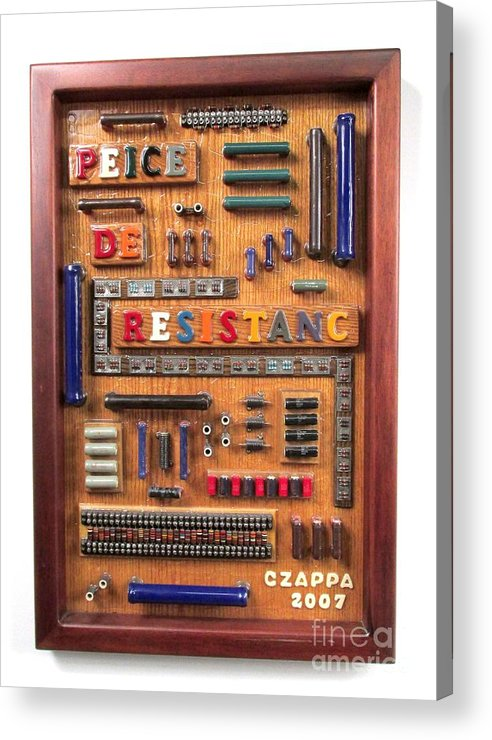 Electronic Parts Acrylic Print featuring the sculpture Peice De Resistanc #116 by Bill Czappa