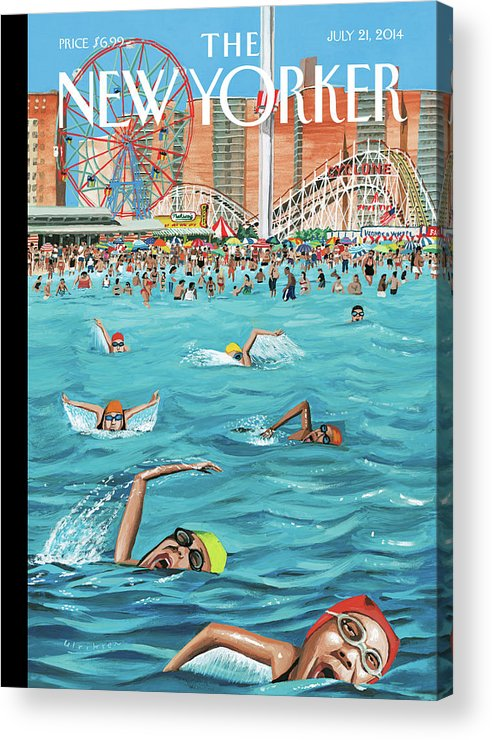 Beach Acrylic Print featuring the painting Coney Island by Mark Ulriksen