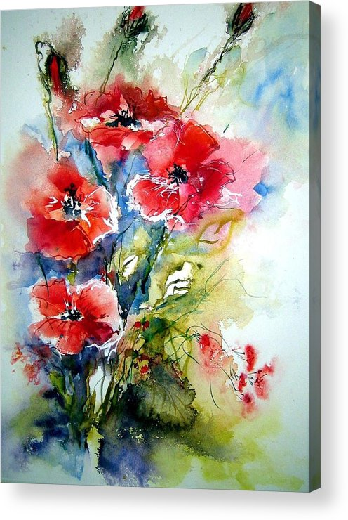 Painting Acrylic Print featuring the painting Poppies by Christa Friedl