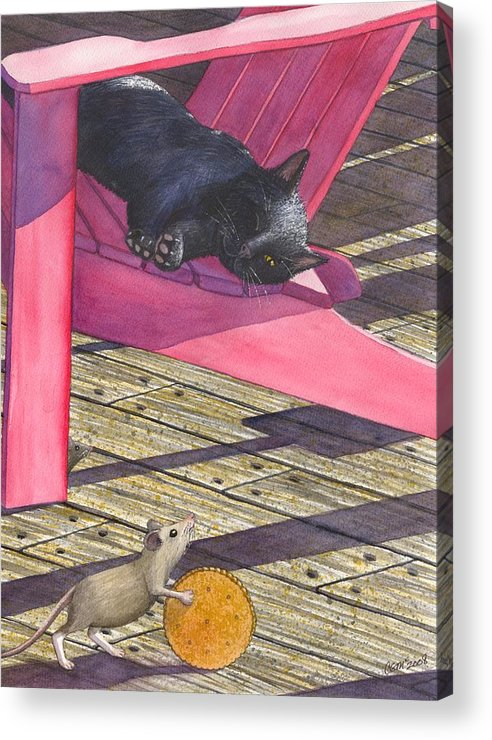 Cat Acrylic Print featuring the painting Precarious by Catherine G McElroy