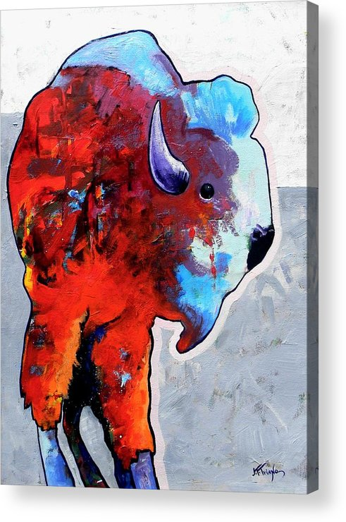 Wildlife Acrylic Print featuring the painting Rainbow Warrior Bison by Joe Triano