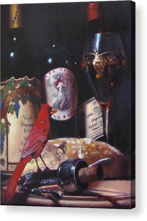 Wine Painting Acrylic Print featuring the painting Red Cardinal Red Wine Sin by Takayuki Harada