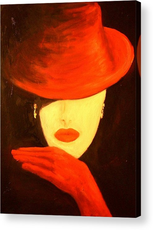 Red Acrylic Print featuring the painting Red Hat by Birgit Schnapp