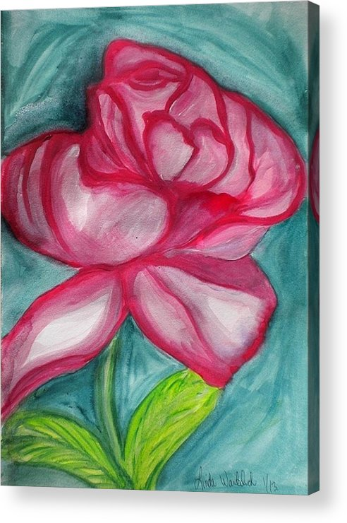 Rose Acrylic Print featuring the painting Remember The Flowers by Linda Waidelich