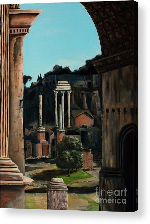 Rome Acrylic Print featuring the painting Roman Forum by Nancy Bradley