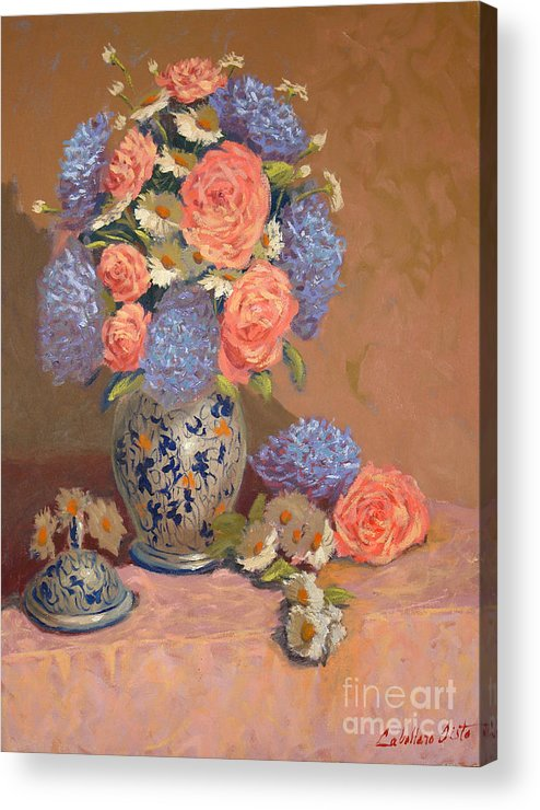 Still Life Arrangements Acrylic Print featuring the painting Roses And Daisies I by Monica Caballero