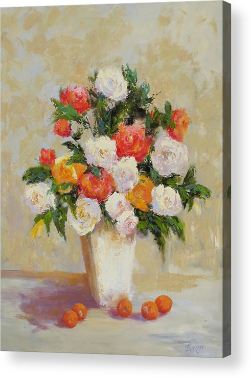 Roses Acrylic Print featuring the painting Roses With Apricots by Barrett Edwards
