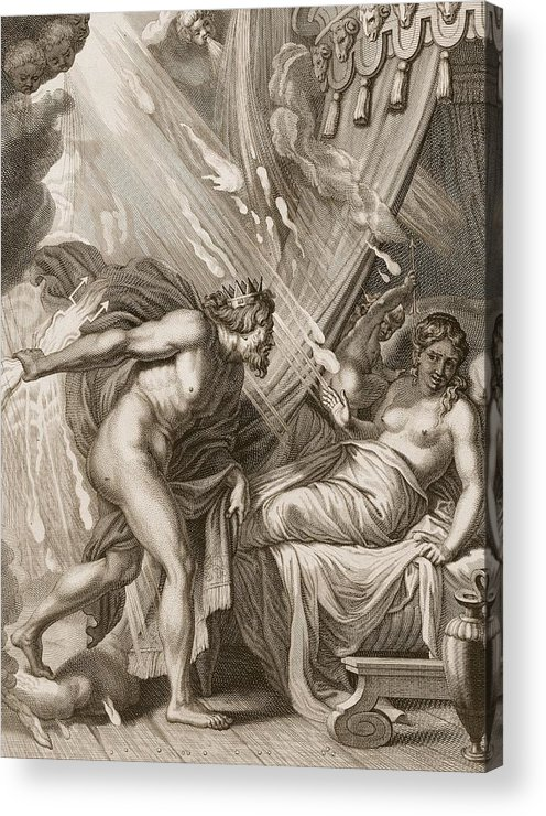 Jupiter Acrylic Print featuring the drawing Semele Is Consumed By Jupiters Fire by Bernard Picart