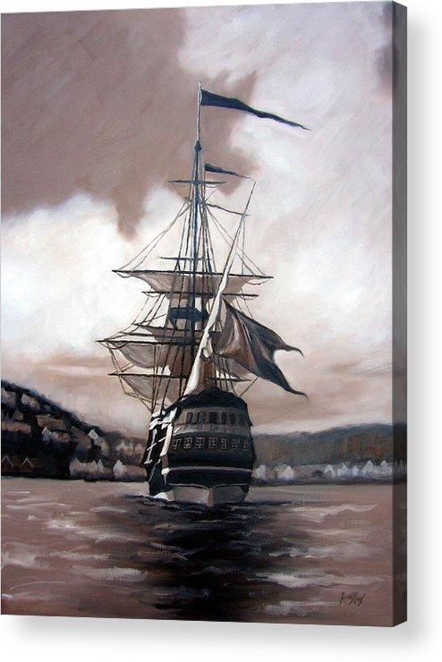 Pirate Ship Acrylic Print featuring the painting Ship In Sepia by Janet King