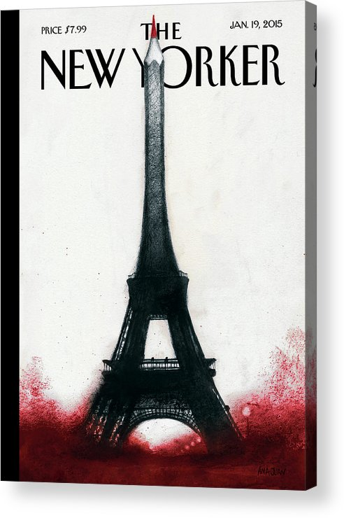 Charlie Hebdo Acrylic Print featuring the painting Solidarite by Ana Juan