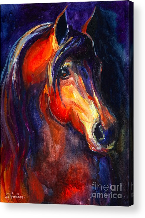 Arabian Horse Acrylic Print featuring the painting Soulful Horse Painting by Svetlana Novikova