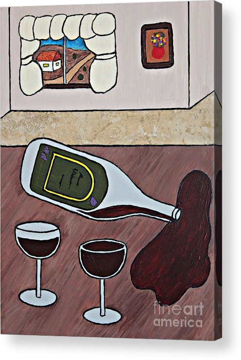 Folk Art Acrylic Print featuring the painting Essence Of Home - Spilt Wine Bottle by Sheryl Young
