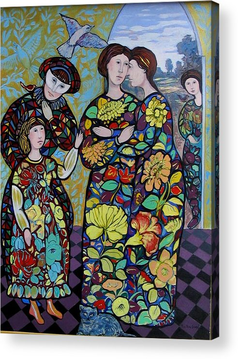 Stain Glass. Ladies. Women Acrylic Print featuring the painting Stain Glass Women by Marilene Sawaf