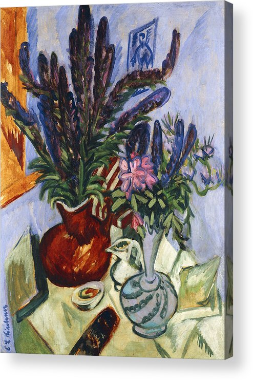 1910s Acrylic Print featuring the painting Still Life With A Vase Of Flowers by Ernst Ludwig Kirchner