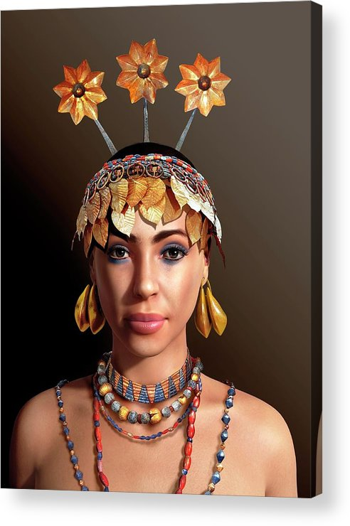 Head-dress Acrylic Print featuring the photograph Sumerian Royal Woman by Jose Antonio Penas/science Photo Library
