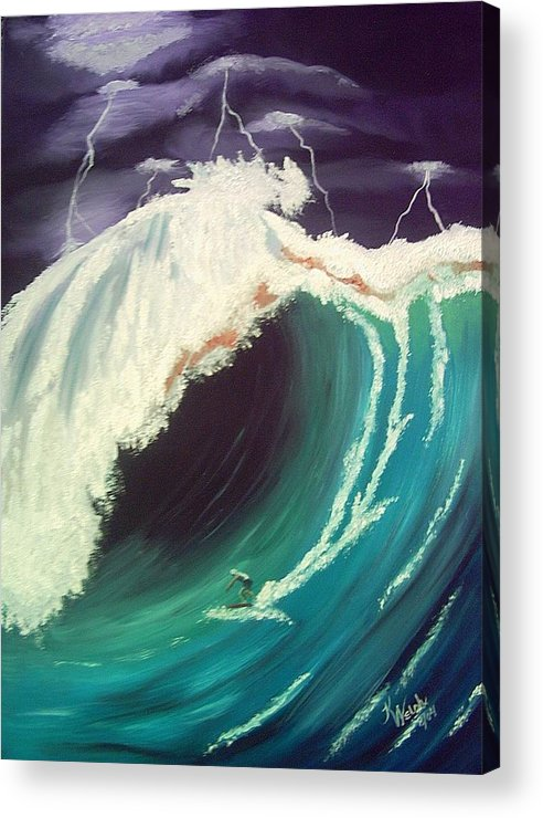 Waves Acrylic Print featuring the painting Surfing Dare Devil by Kathern Welsh