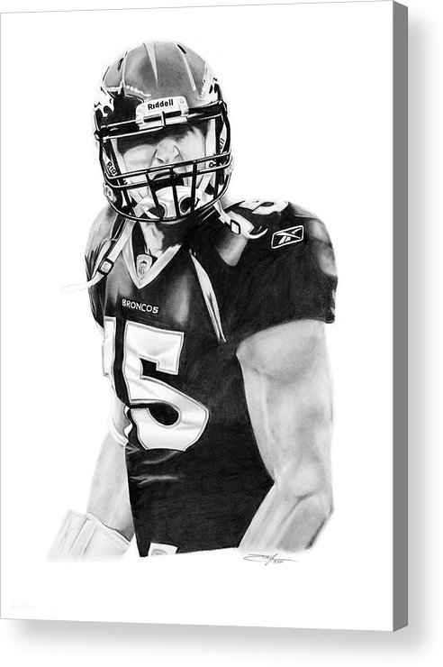 Nfl Acrylic Print featuring the drawing Tebow by Don Medina