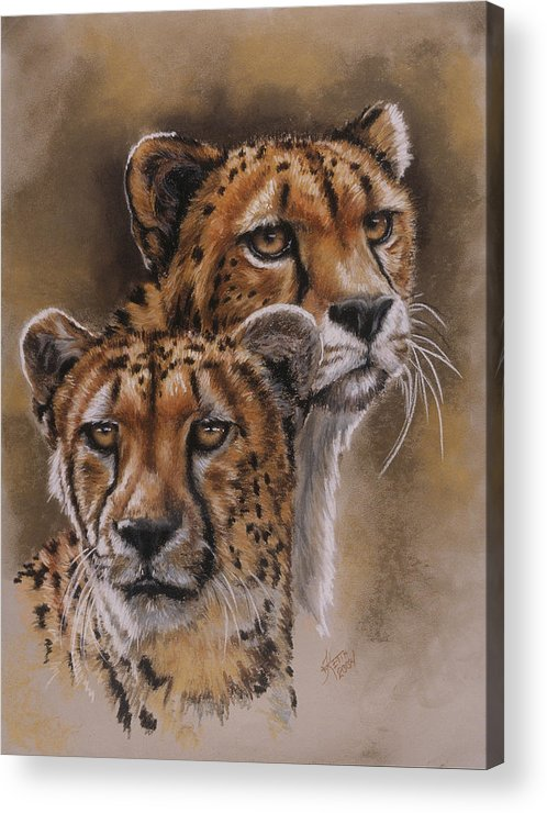 Cheetah Acrylic Print featuring the pastel Twins by Barbara Keith