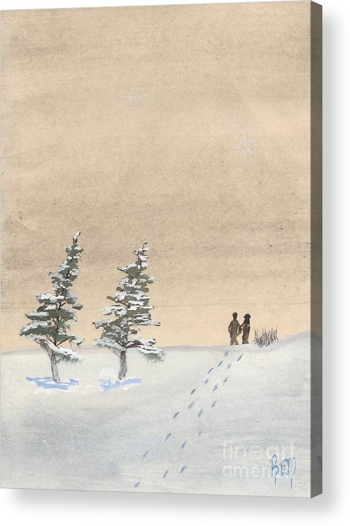 Watercolor Acrylic Print featuring the painting Walking Together by Robert Meszaros