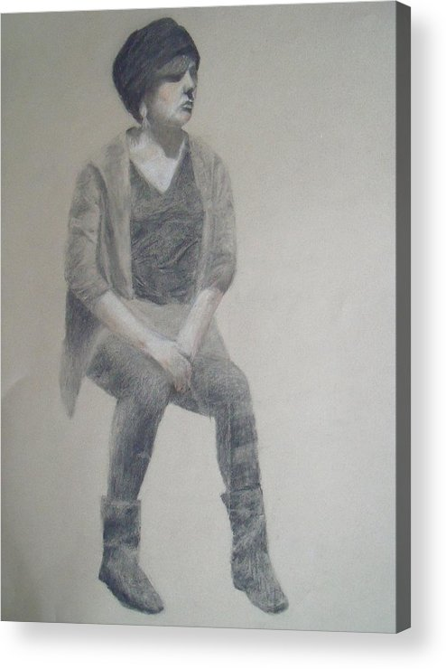 Figure Drawing Acrylic Print featuring the drawing Winter by Jessica Sanders