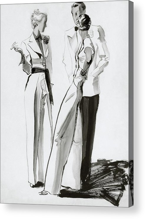 Fashion Acrylic Print featuring the digital art Women And A Man In Suits by Rene Bouet-Willaumez