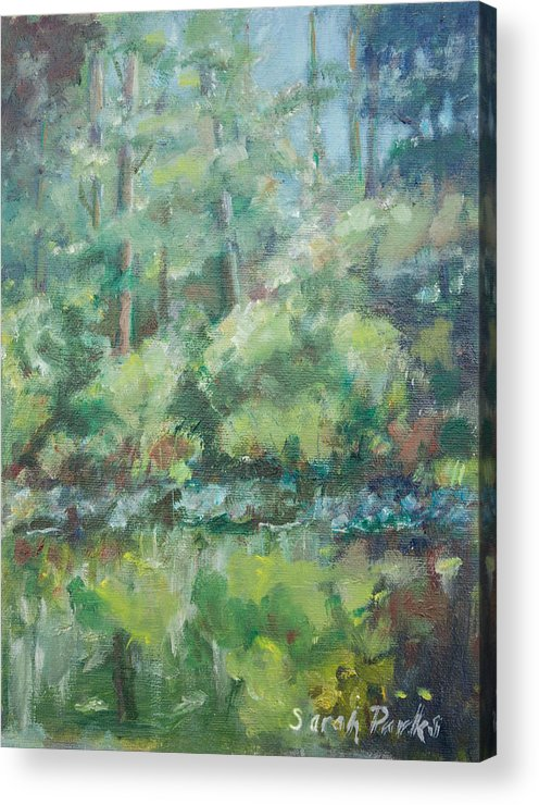Woods Acrylic Print featuring the painting Woodland Pond by Sarah Parks