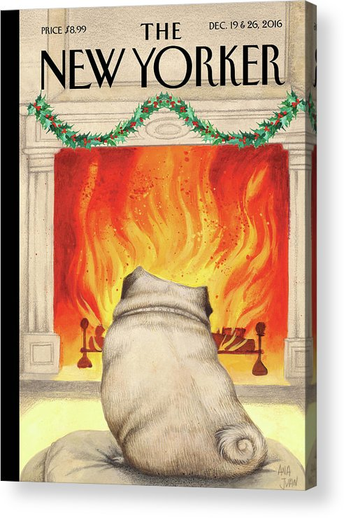 Pug Acrylic Print featuring the painting Yule Dog by Ana Juan
