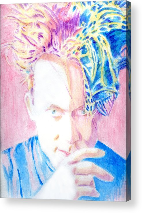 Watercolor Acrylic Print featuring the painting Robert In Pink And Blue by Karen Clark
