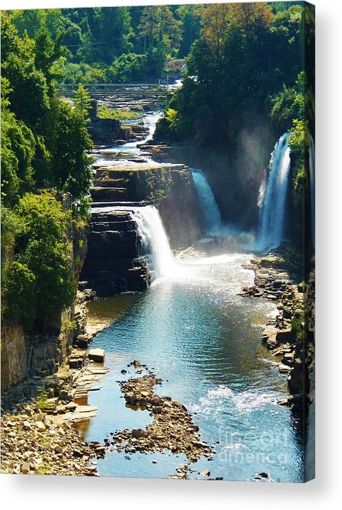 Waterfalls Acrylic Print featuring the photograph Ausable River Water Falls by Judy Via-Wolff