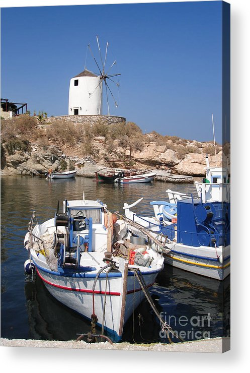 Aegean Acrylic Print featuring the photograph Boats And Windmill by Jane Rix