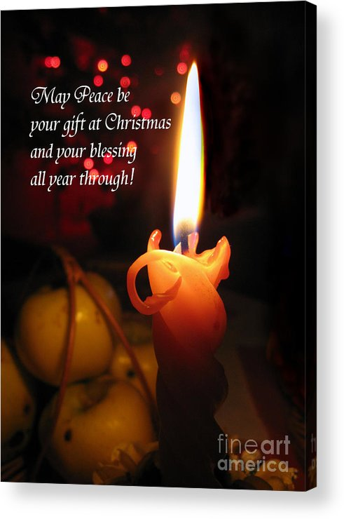Christmas Candle Acrylic Print featuring the photograph Christmas Candle Peace Greeting by Ausra Huntington nee Paulauskaite