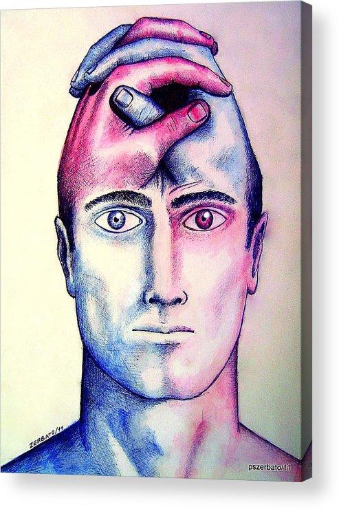 Left Hemisphere Acrylic Print featuring the digital art Contralateral Stimuli by Paulo Zerbato