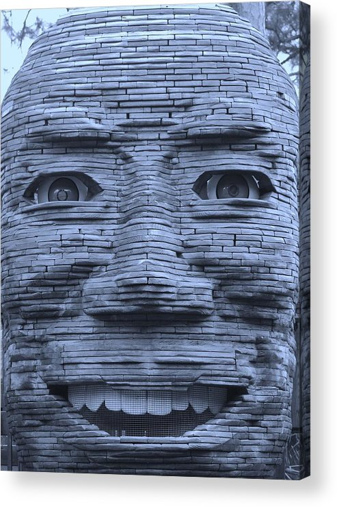 Architecture Acrylic Print featuring the photograph In Your Face In Cyan by Rob Hans