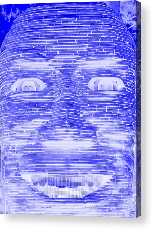 Architecture Acrylic Print featuring the photograph In Your Face In Negative Blue by Rob Hans