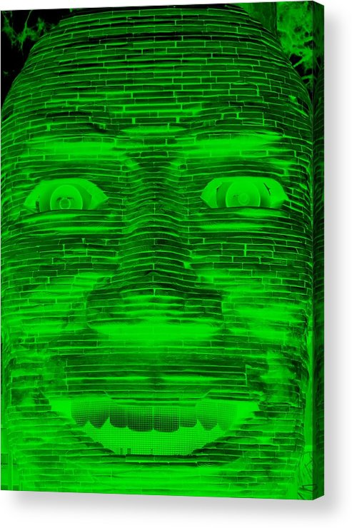 Architecture Acrylic Print featuring the photograph In Your Face In Negative Green by Rob Hans