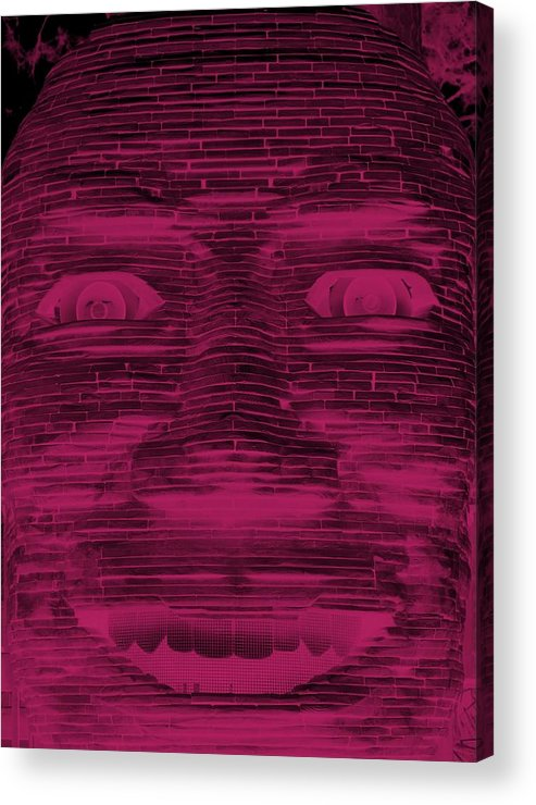 Architecture Acrylic Print featuring the photograph In Your Face In Negative Hot Pink by Rob Hans