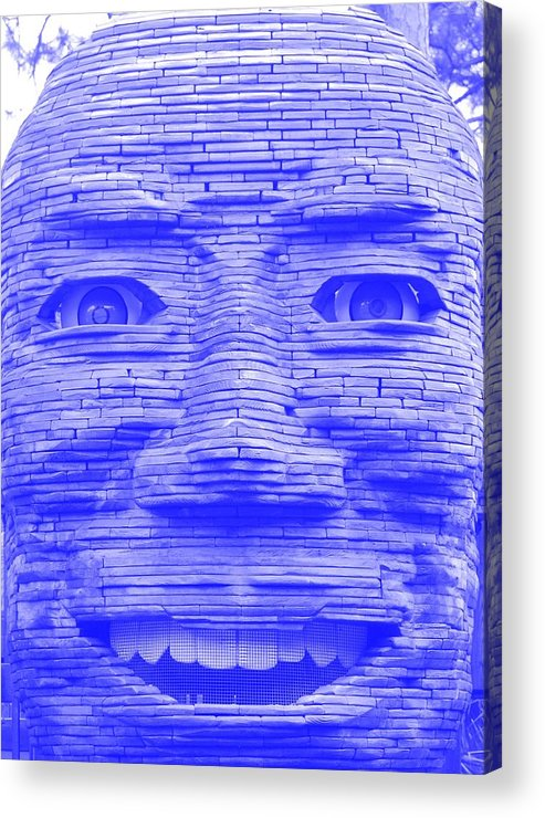 Architecture Acrylic Print featuring the photograph In Your Face In Negative Light Blue by Rob Hans