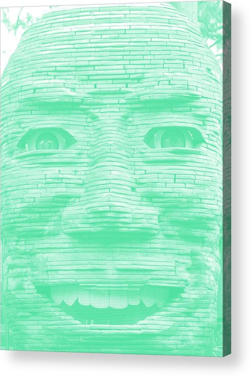 Architecture Acrylic Print featuring the photograph In Your Face In Negative Light Green by Rob Hans