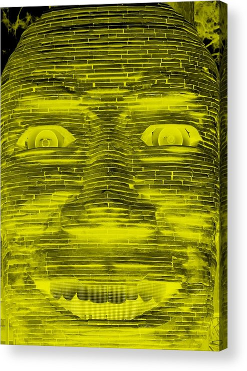 Architecture Acrylic Print featuring the photograph In Your Face In Negative Yellow by Rob Hans