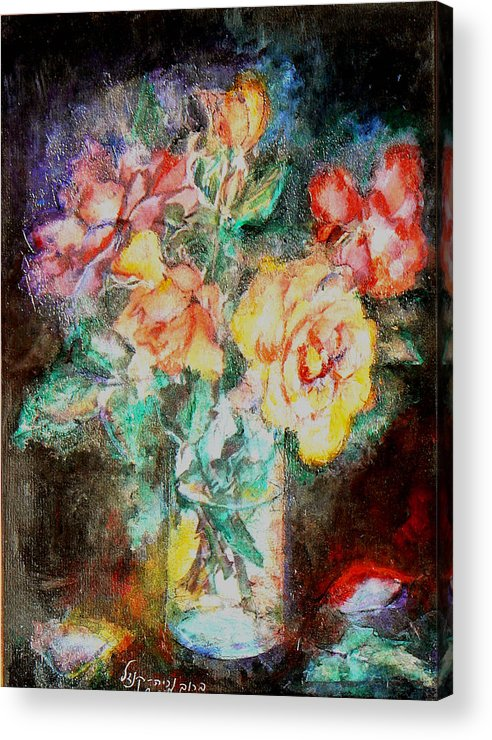 Flowers Acrylic Print featuring the painting Lilies In Glass by Baruch Neria-Kandel