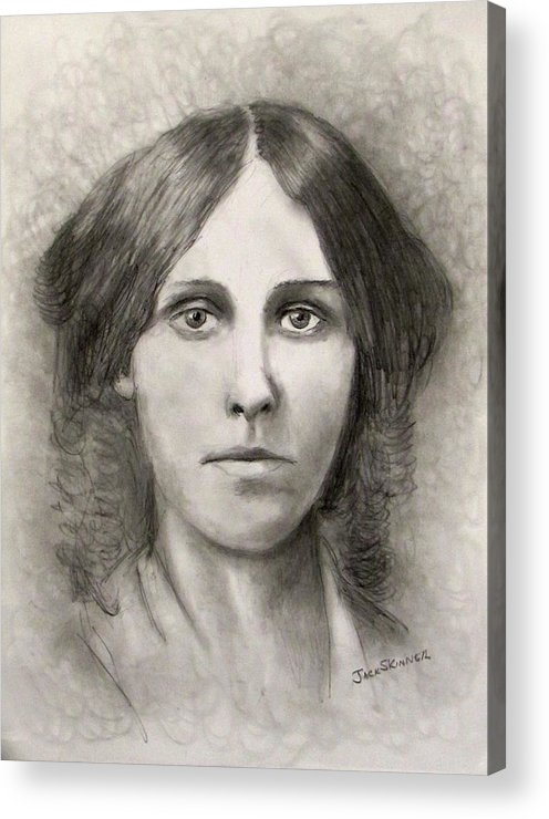 Louisa May Alcott Acrylic Print featuring the drawing Louisa May Alcott by Jack Skinner